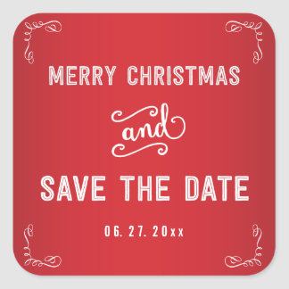Small Square Red Save The Date Christmas Stickers