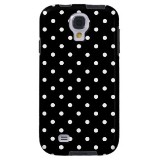 Small White Polka dots black background Galaxy S4 Case