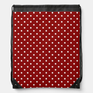 Small White Polka dots red background Drawstring Bag