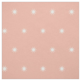 Small White Starbursts on Sweet Peach Fabric