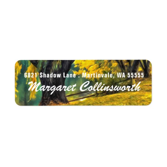 SMALL Yellow and Green Pond Willows Return Address Label