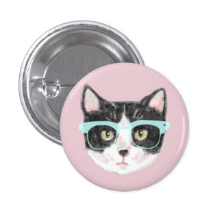 Smart Black & White Cat Wearing Glasses 3 Cm Round Badge
