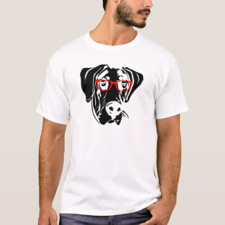 Smart Dog Great Dane with Glasses T-Shirt