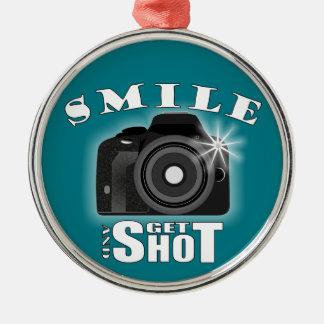 Smile and Get Shot Photography Humor Sarcasim Christmas Ornament