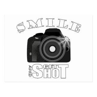 Smile and Get Shot Photography Humor Sarcasim Postcard