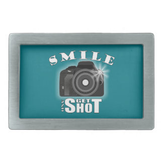 Smile and Get Shot Photography Humor Sarcasim Rectangular Belt Buckles
