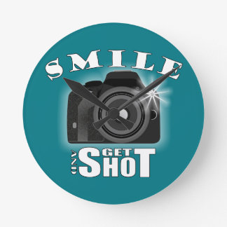 Smile and Get Shot Photography Humor Sarcasim Round Clock