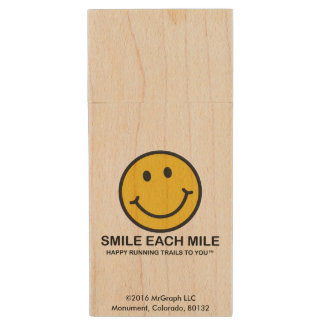 "Smile Each Mile / ""Happy Running"" USB Flash Drive Wood USB 2.0 Flash Drive"