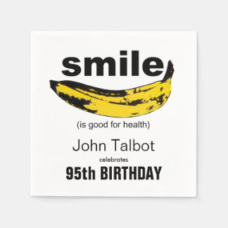 Smile is good 95th Birthday Party Paper Napkin