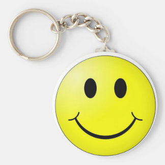 smiley basic round button key ring
