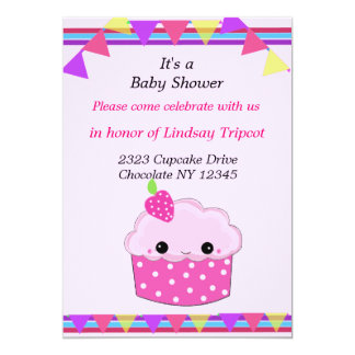 Smiley Cupcake Baby Shower Invitation