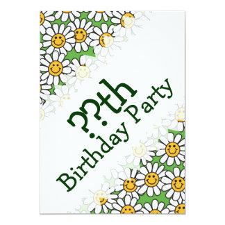 Smiley Daisy Flowers Birthday Invitations