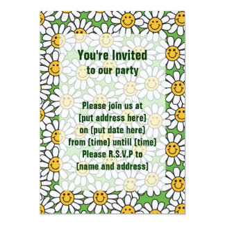 "Smiley Daisy Flowers Pattern 5"" X 7"" Invitation Card"