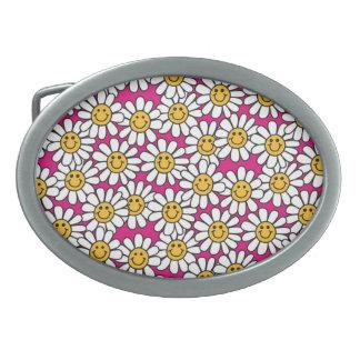 Smiley Daisy Flowers Pattern Pink Yellow Belt Buckles