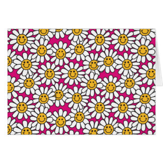 Smiley Daisy Flowers Pattern Pink Yellow Card