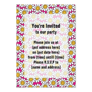 """Smiley Daisy Flowers Pattern Pink Yellow 5"""" X 7"""" Invitation Card"""
