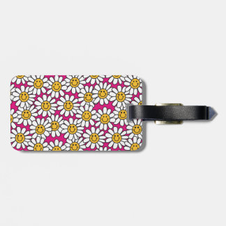 Smiley Daisy Flowers Pattern Pink Yellow Bag Tags