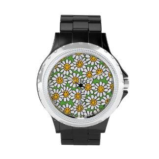 Smiley Daisy Flowers Pattern Wrist Watch