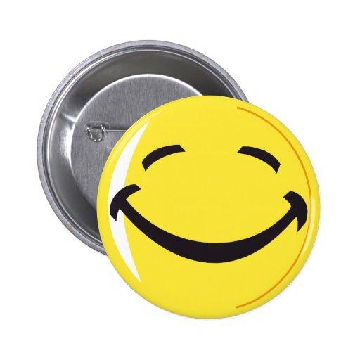 Smiley face badge button