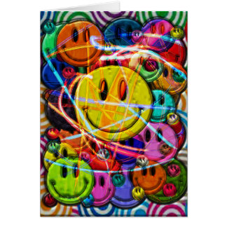 Smiley Face Buttons Abstract Design Card