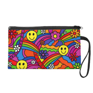 Smiley Face Rainbow and Flower Hippy Pattern Wristlets