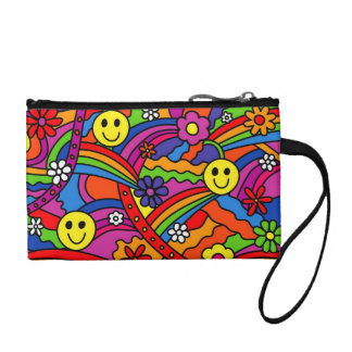 Smiley Face Rainbow and Flower Hippy Pattern Coin Purses