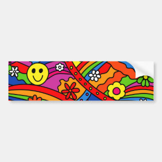Smiley Face Rainbow and Flower Hippy Pattern Car Bumper Sticker