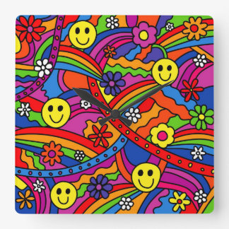 Smiley Face Rainbow and Flower Hippy Pattern Wall Clocks
