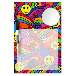Smiley Face Rainbow and Flower Hippy Pattern Dry-Erase Boards