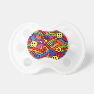 Smiley Face Rainbow and Flower Hippy Pattern Baby Pacifiers
