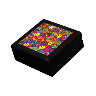 Smiley Face Rainbow and Flower Hippy Pattern Jewelry Boxes