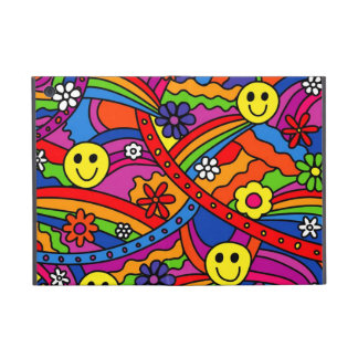 Smiley Face Rainbow and Flower Hippy Pattern Cases For iPad Mini