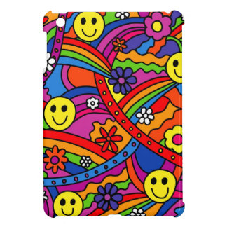 Smiley Face Rainbow and Flower Hippy Pattern Case For The iPad Mini