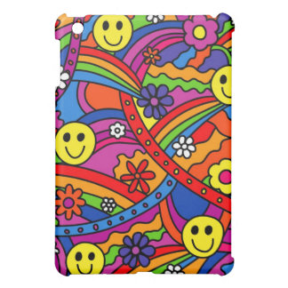 Smiley Face Rainbow and Flower Hippy Pattern Cover For The iPad Mini
