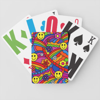 Smiley Face Rainbow and Flower Hippy Pattern Bicycle Card Deck