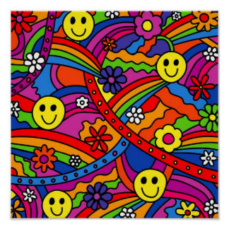 Smiley Face Rainbow and Flower Hippy Pattern Posters