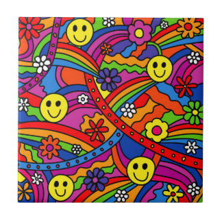 Smiley Face Rainbow and Flower Hippy Pattern Ceramic Tiles