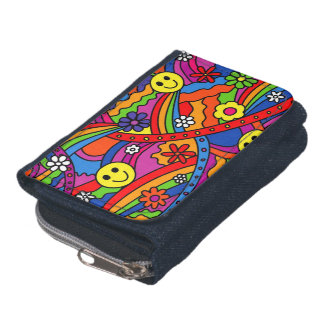 Smiley Face Rainbow and Flower Hippy Pattern Wallet