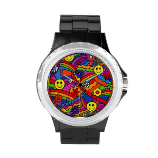 Smiley Face Rainbow and Flower Hippy Pattern Watches