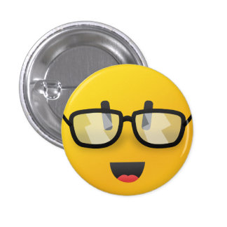 Smiley face with glasses  pin