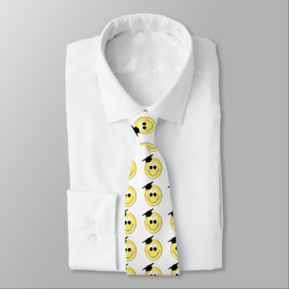 Smiley Face With Graduation Cap Neck Tie