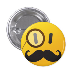Smiley face with mustache 3 cm round badge
