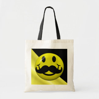 Smiley Face With Mustache Funny Tote Bag