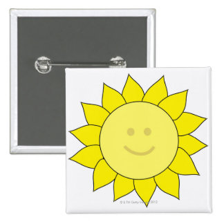 Smiley-Faced Sunflower 15 Cm Square Badge