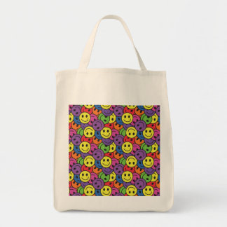 Smiley Faces Retro Hippy Pattern Canvas Bags