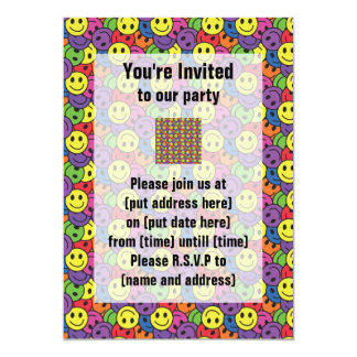 Smiley Faces Retro Hippy Pattern Card