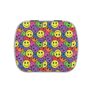 Smiley Faces Retro Hippy Pattern Candy Tin