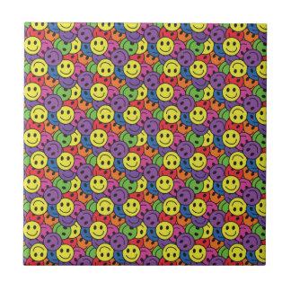 Smiley Faces Retro Hippy Pattern Tile
