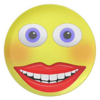 Smiley Female With Big Smiling Mouth Dinner Plate