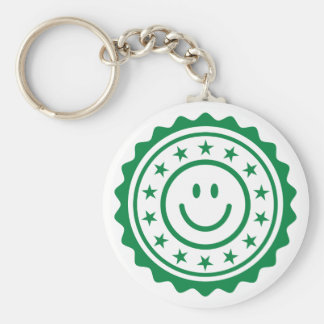 Smiley green approved quality seal key chain